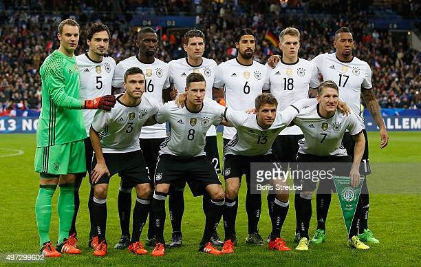 The team of Germany line up prior to the International Friendly match between France and Germany at the Stade de France on November 13 2015 in Paris...