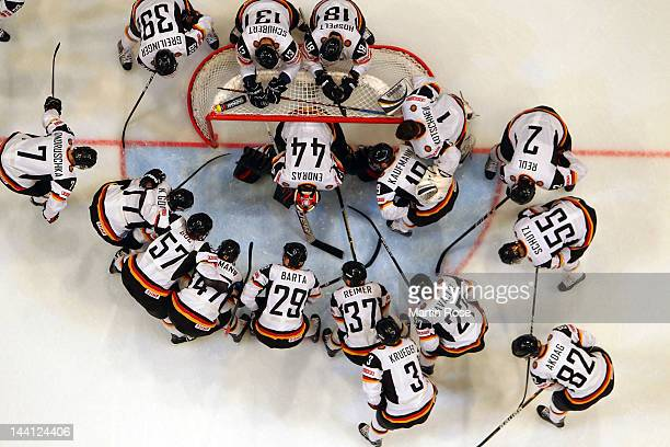 The team of Germany lines up before the IIHF World Championship group S match between Sweden and Germany at Ericsson Globe on May 9 2012 in Stockholm...