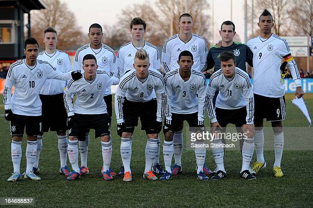 The team of Germany lines up before the start of the U18 International Friendly match between The Netherlands and Germany on March 26 2013 in...