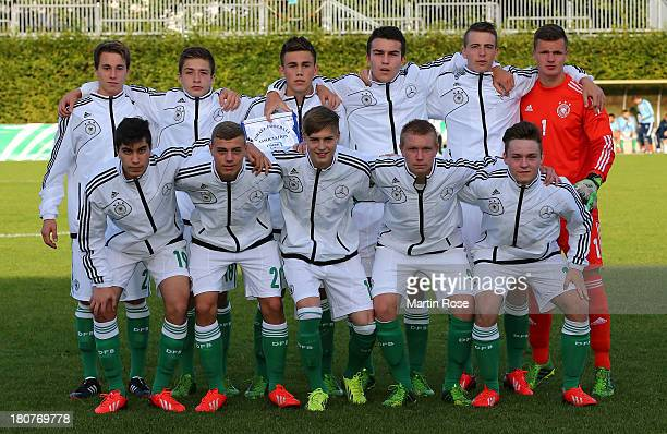 The team of Germany lines up before the U17 Juniors KOMM MIT tournament match between U17 Germany and U17 Israel on September 16 2013 in Hamburg...