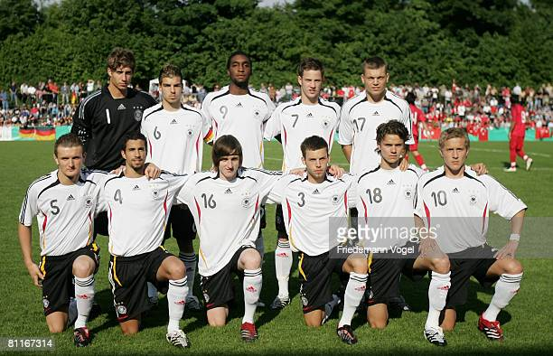 The team of Germany lines up during the Men's U18 international friendly match between Germany and Turkey at the Hemberg stadium on May 20 2008 in...