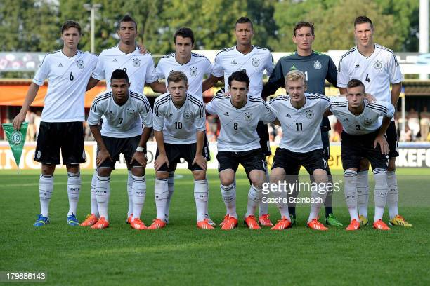 The team of Germany lines up during the U19 international friendly match between The Netherlands and Germany on September 6 2013 in Nijmegen...
