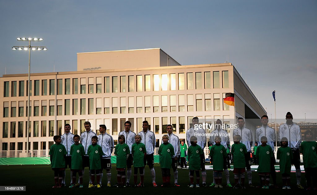 The team of Germany lines up during the UEFA Under17 Elite Round match between Germany and Bulgaria at Toennies-Arena on March 26, 2013 in Rheda-Wiedenbruck, Germany.
