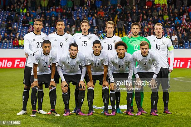 The team of Germany lines up for photographers prior to the 2017 UEFA European U21 Championships Qualifier between U21 Austria and U21 Germany at NV...