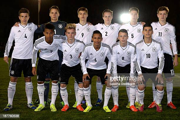 The team of Germany lines up prior to the international friendly match between U16 Germany and U16 Cyprus at Stadion Suedstrasse on November 12 2013...