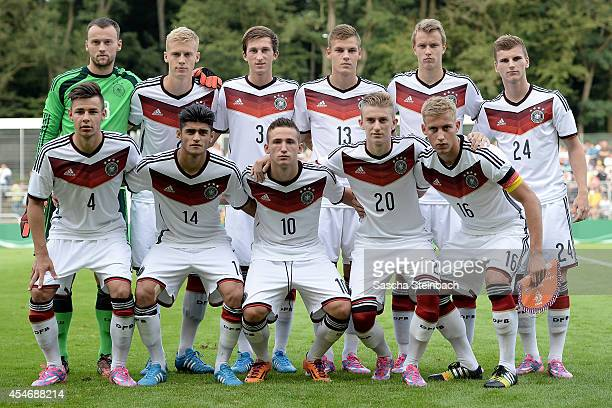 The team of Germany lines up prior to the international friendly match between U19 Germany and U19 Netherlands at Sportpark Hoehenberg on September 5...