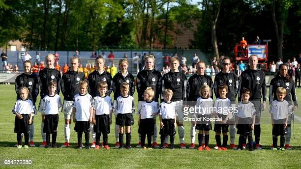 The team of Germany pose prior to the U15 girl's international friendly match between Germany and Netherlands at Getraenke Hoffmann Stadion on May 17...