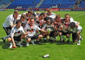 The team of Germany pose with the trophy after winning the Uefa U17 European Championship Final between Netherlands and Germany at the Magdeburg...