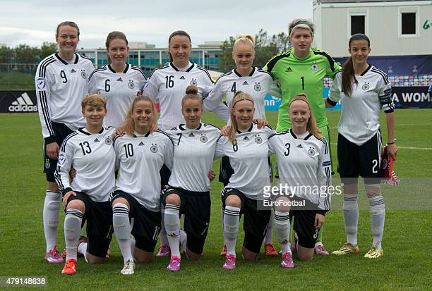 The team of Germany poses for a photo during the UEFA European Women's Under17 Championship semi final between U17 Switzerland and U17 Germany at...