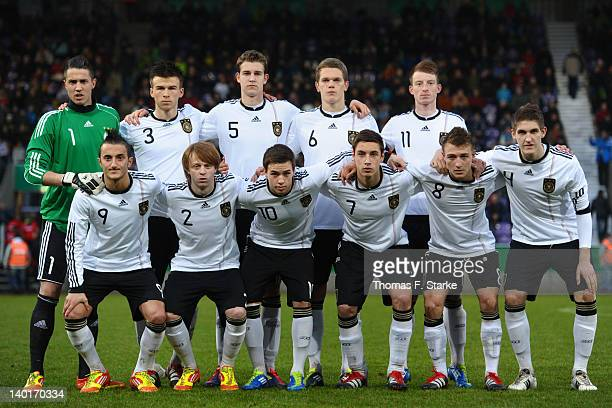 The team of Germany poses for photographer prior to the U18 international friendly match between Germany and Netherlands at the osnatelArena on...