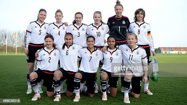 The team of Germany poses prior to the during the U15 girl's international friendly match between Belgium and Germany on November 28 2015 in Tubize...