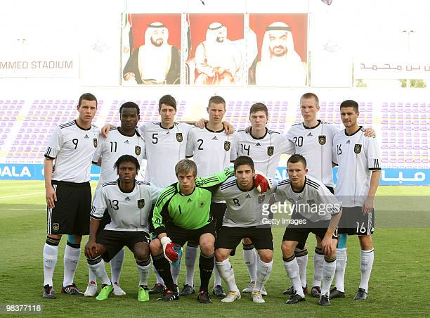 The team of Germany poses prior to the U18 International Friendly match between United Arab Emirates and Germany at the Qattara Stadium on April 10...
