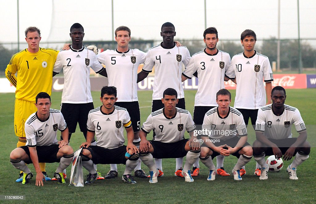 The team of Germany with (back row L-R) goalkeeper Marc-Andre Terstegen, Stephen Sama, Shkadron Mustafi, Antonio Rudiger, <a gi-track='captionPersonalityLinkClicked' href=/galleries/search?phrase=Marvin+Plattenhardt&family=editorial&specificpeople=5616506 ng-click='$event.stopPropagation()'>Marvin Plattenhardt</a>, Moritz Leitner, (front row L-R) <a gi-track='captionPersonalityLinkClicked' href=/galleries/search?phrase=Nico+Schulz&family=editorial&specificpeople=5385067 ng-click='$event.stopPropagation()'>Nico Schulz</a>, <a gi-track='captionPersonalityLinkClicked' href=/galleries/search?phrase=Matthias+Zimmermann&family=editorial&specificpeople=2382625 ng-click='$event.stopPropagation()'>Matthias Zimmermann</a>, <a gi-track='captionPersonalityLinkClicked' href=/galleries/search?phrase=Shawn+Parker+-+Soccer+Player&family=editorial&specificpeople=5385069 ng-click='$event.stopPropagation()'>Shawn Parker</a>, Markus Mendler and <a gi-track='captionPersonalityLinkClicked' href=/galleries/search?phrase=Reinhold+Yabo&family=editorial&specificpeople=4251446 ng-click='$event.stopPropagation()'>Reinhold Yabo</a> poses prior the UEFA U19 European Championship match between Germany and Turkey on June 5, 2011 in Antalya, Turkey.