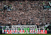 The team of Gladbach celebrate with the fans after the Bundesliga match between Borussia Moenchengladbach and Bayer 04 Leverkusen at Borussia Park...