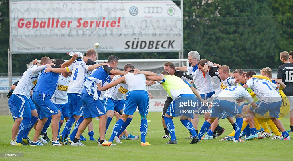 The team of Goslar celebrates after winning the Regionalliga North match between BV Cloppenburg and Goslarer SC at stadium Cloppenburg on August 2, 2013 in Cloppenburg, Germany.