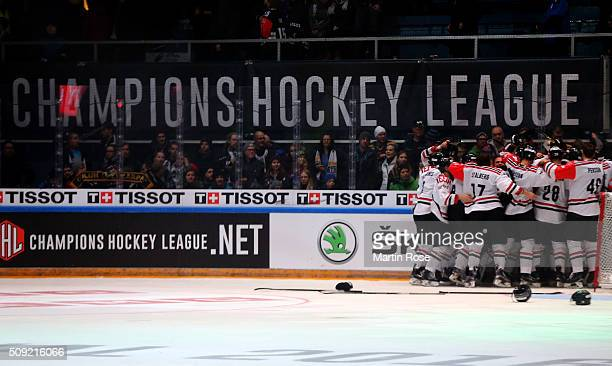 The team of Gothenburg celebrate after winning the Champions Hockey League final game between Karpat Oulu and Frolunda Gothenburg at Oulun...