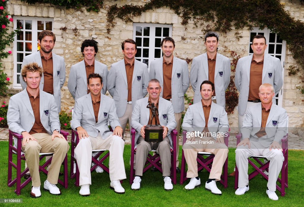 The team of Great Britain and Northern Ireland pose for a picture (back left to right) Robert Rock, Rory McIlroy, Graeme McDowell, Oliver Wilson, Ross Fisher and Anthony Wall. (front left to right) Chris Wood, Nick Dougherty, Captain Paul McGinley, Steve Webster and Simon Dyson. the first day fourball at The Vivendi Trophy with Severiano Ballesteros at Saint - Nom - La Breteche golf course on September 24, 2009 in Paris, France.