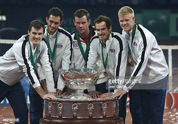 The team of Great Britain poses with Davis Cup following their victory on day three of the Davis Cup Final 2015 between Belgium and Great Britain at...