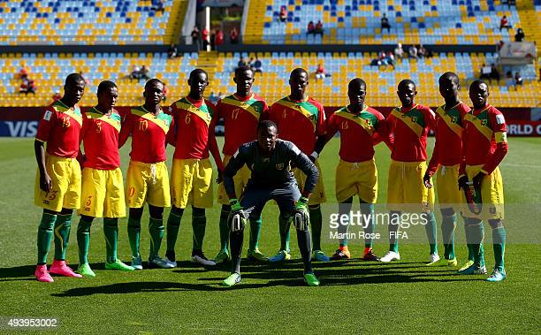 The team of Guinea line up before the FIFA U17 Men's World Cup 2015 group B match between Guinea and Brazil at Estadio Sausalito on October 23 2015...