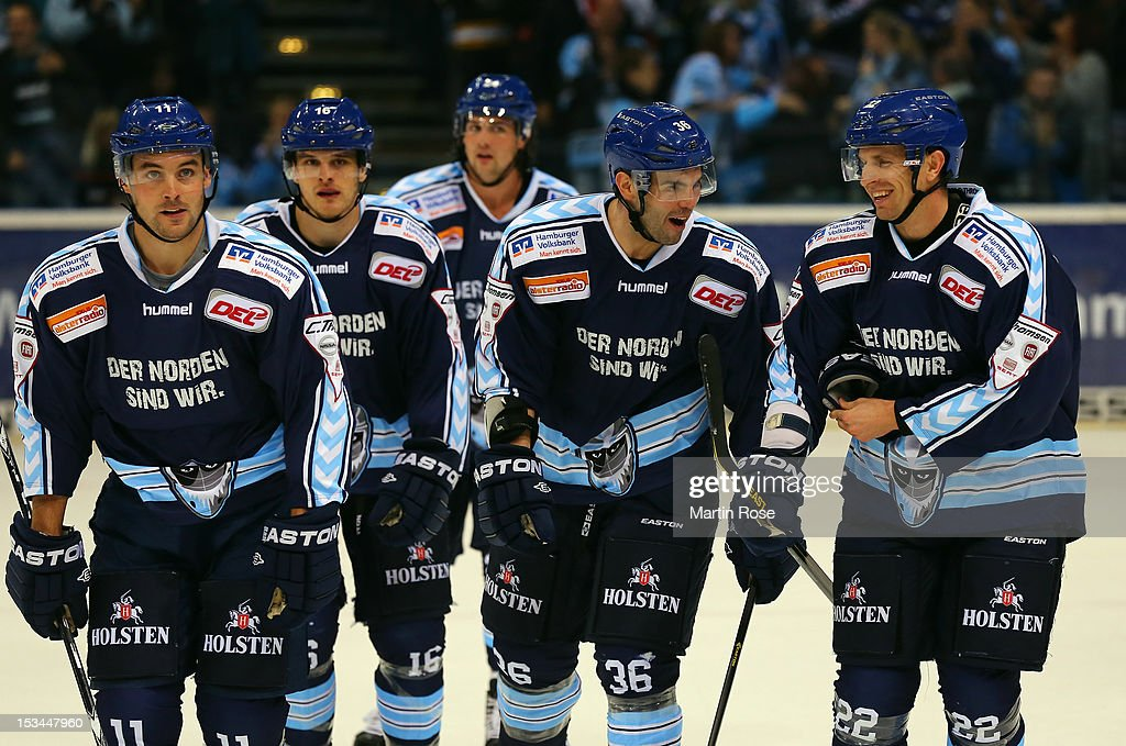 The team of Hamburg celebrate their first goal during the DEL match between Hamburg Freezers and Adler Mannheim at O2 World on October 5, 2012 in Hamburg, Germany.