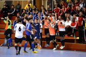 The team of Hamburg celebrates after winning the DFB Futsal State Cup 2014 at Sport School Wedau on January 26 2014 in Duisburg Germany
