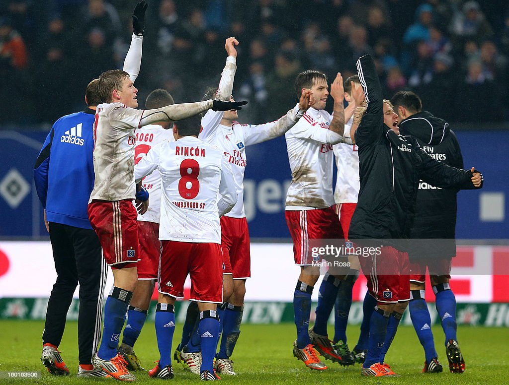 The team of Hamburg celerate after winning the Bundesliga match between Hamburger SV and SV Werder Bremen at Imtech Arena on January 27, 2013 in Hamburg, Germany.