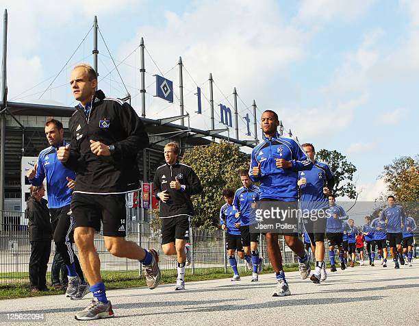 The team of Hamburg is running during a Hamburger SV training session on September 19 2011 in Hamburg Germany