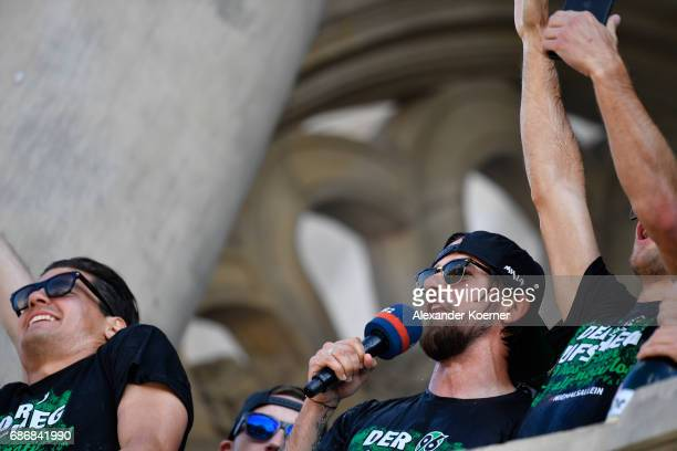 The team of Hannover 96 celebrates together with their supporters the promotion to 1 Bundesliga at Neues Rathaus on May 22 2017 in Hanover Germany...