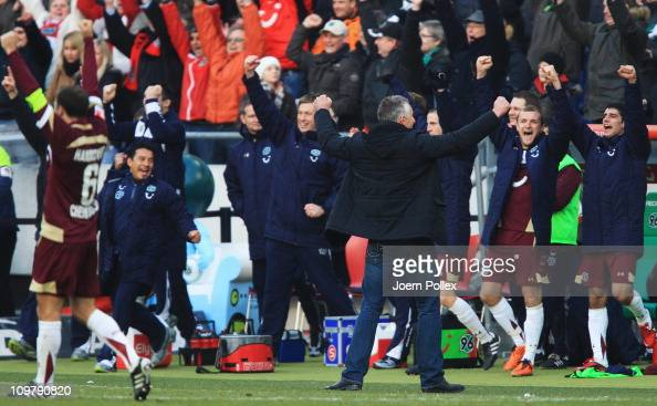 The team of Hannover celebrates after winning the Bundesliga match between Hannover 96 and FC Bayern Muenchen at AWD Arena on March 5 2011 in Hanover...