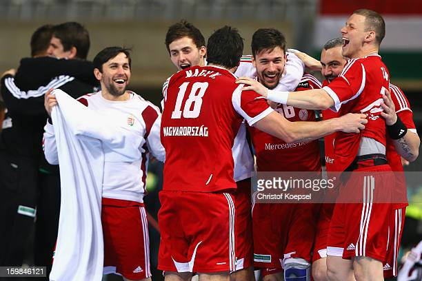 The team of Hungary celebrates after the round of sixteen match between Hungary and Poland at Palau Sant Jordi on January 21 2013 in Barcelona Spain...