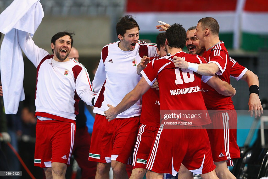 The team of Hungary celebrates after the round of sixteen match between Hungary and Poland at Palau Sant Jordi on January 21, 2013 in Barcelona, Spain. The match between Hungary and Poland ended 27-19.