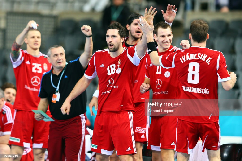 The team of Hungary with Kornel Nagy (2nd L), Barna Putics and Gergo Ivancsik celebrate during the round of sixteen match between Hungary and Poland at Palau Sant Jordi on January 21, 2013 in Barcelona, Spain.