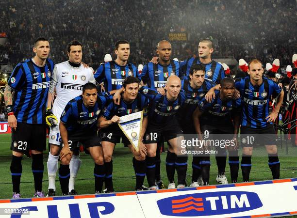 The team of Inter before the match the Tim Cup between FC Internazionale Milano and AS Roma at Stadio Olimpico on May 5 2010 in Rome Italy