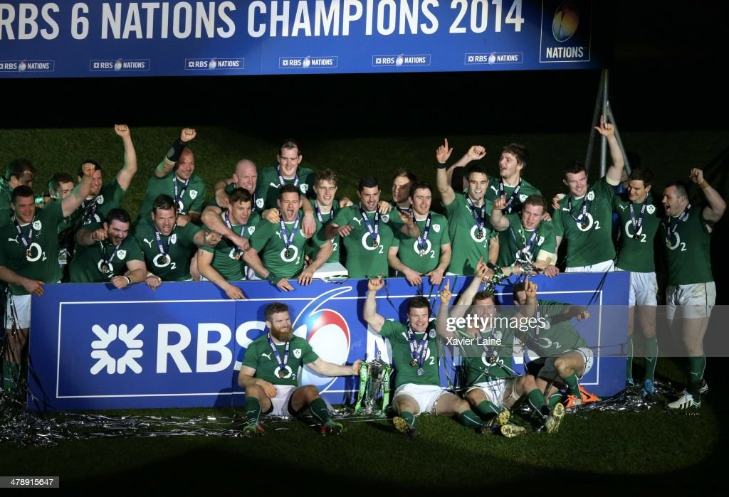 The team of Ireland celebrates after winning the RBS 6 Nations tournament after the match between France and Ireland at Stade de France on March 15, 2014 in Paris, France.