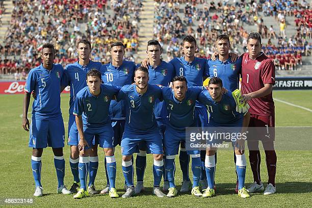 The team of Italy U20 poses prior to the match between Italy U20 and Germany U20 at Stadio Porta Elisa on September 3 2015 in Lucca Italy
