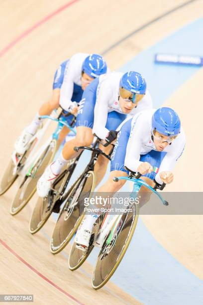 The team of Italy with Liam Bertazzo Simone Consonni Filippo Ganna and Francesco Lamon competes in Men's Team Pursuit First Round match during day...