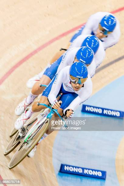 The team of Italy with Simone Consonni Liam Bertazzo Filippo Ganna and Francesco Lamon competes in the Men's Team Pursuit Finals during 2017 UCI...