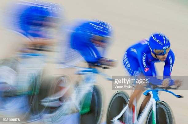 The team of Italy with Simone Consonni Michele Scartezzini Filippo Ganna and Francesco Lamon compete on their Men's Team Pursuit Finals heat during...