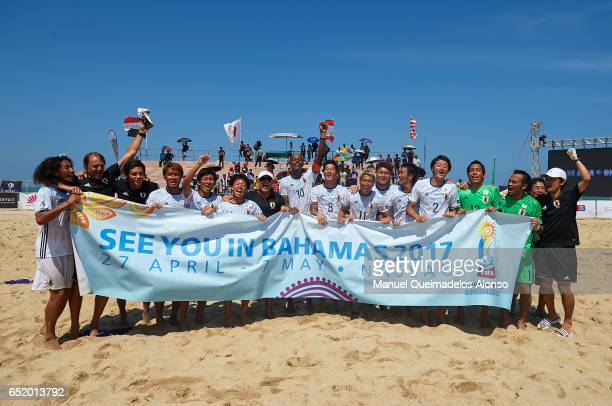 The Team of Japan celebrate after winning during day seven of the AFC Beach Soccer Championship 2017 match between Japan and Lebanon at Primula Beach...