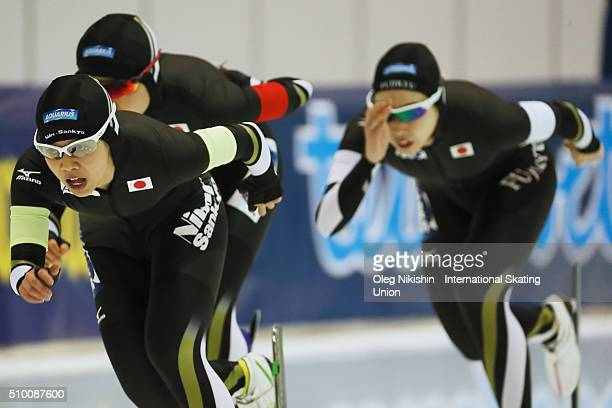 The team of Japan competes in Team Pursuit Ladies race during day 3 of the ISU World Single Distances Speed Skating Championships held at Speed...