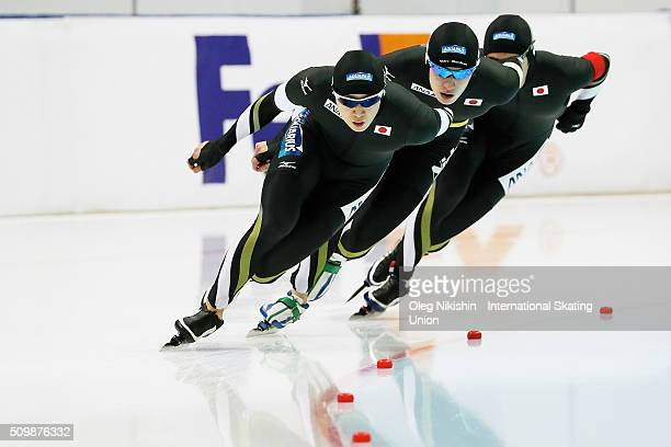 The team of Japan competes men's pursuit race during day 2 of the ISU World Single Distances Speed Skating Championships held at Speed Skating Centre...