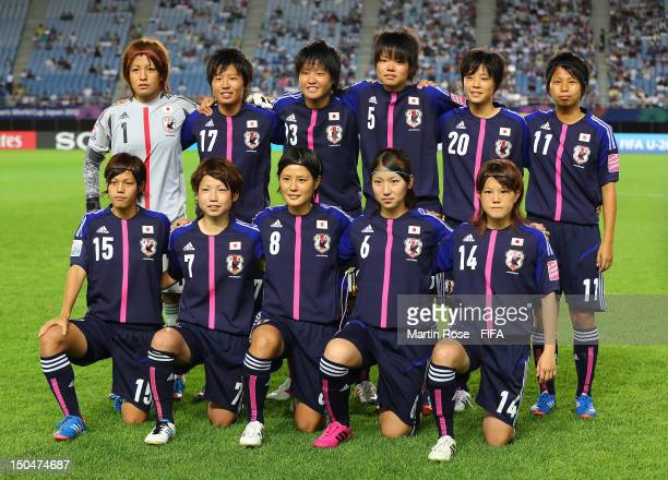 The team of Japan lines up before the FIFA U20 Women's World Cup 2012 group A match between Japan and Mexico at Miyagi Stadium on August 19 2012 in...