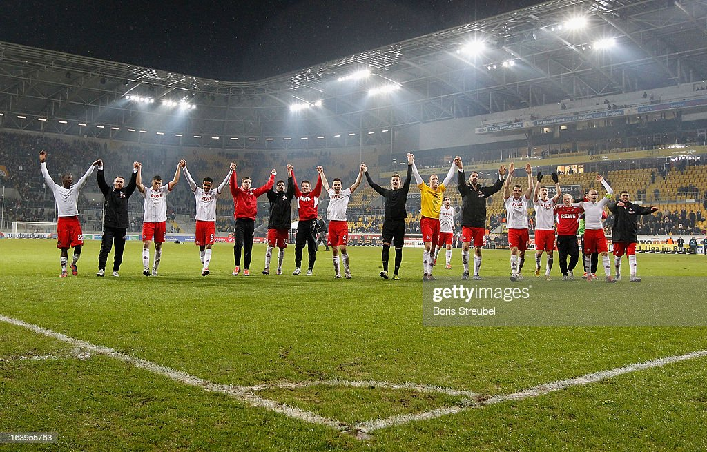 The team of Koeln celebrate after winning the Second Bundesliga match between SG Dynamo Dresden and 1. FC Koeln at Gluecksgas-Stadion on March 18, 2013 in Dresden, Germany.