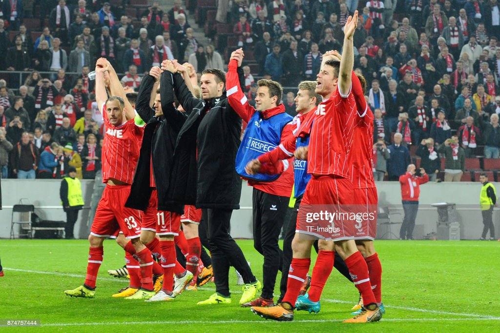 The team of Koeln celebrates after winning during the UEFA Europa League group H match between 1. FC Koeln and BATE Borisov at RheinEnergieStadion on November 2, 2017 in Cologne, Germany.