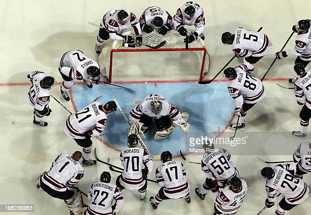 The team of Latvia lines up before the IIHF World Championship group H match between Austria and Latvia at Hartwall Areena on May 7 2013 in Helsinki...