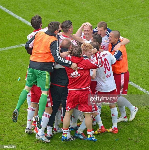 The team of Leipzig celebrates their second goal during the Regionalliga Playoff First Leg match between between Rasenballsport Leipzig and...