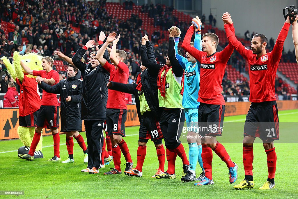 The team of Leverkusen celebrates after the Bundesliga match between Bayer 04 Leverkusen and Fortuna Duesseldorf at BayArena on November 4, 2012 in Leverkusen, Germany. The match between Leverkusen and Duesseldorf ended 3-2.