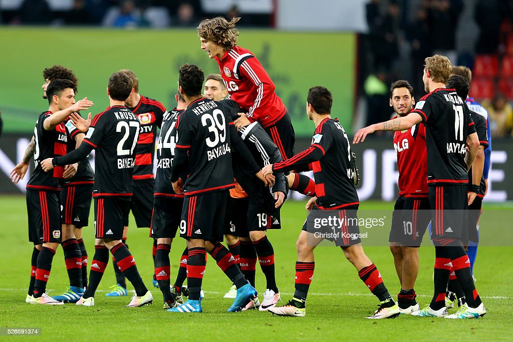 The team of Leverkusen celebrates after the Bundesliga match between Bayer Leverkusen and Hertha BSC Berlin at BayArena on April 30, 2016 in Leverkusen, Germany. The match between Leverkusen and Belrin ended 2-1.