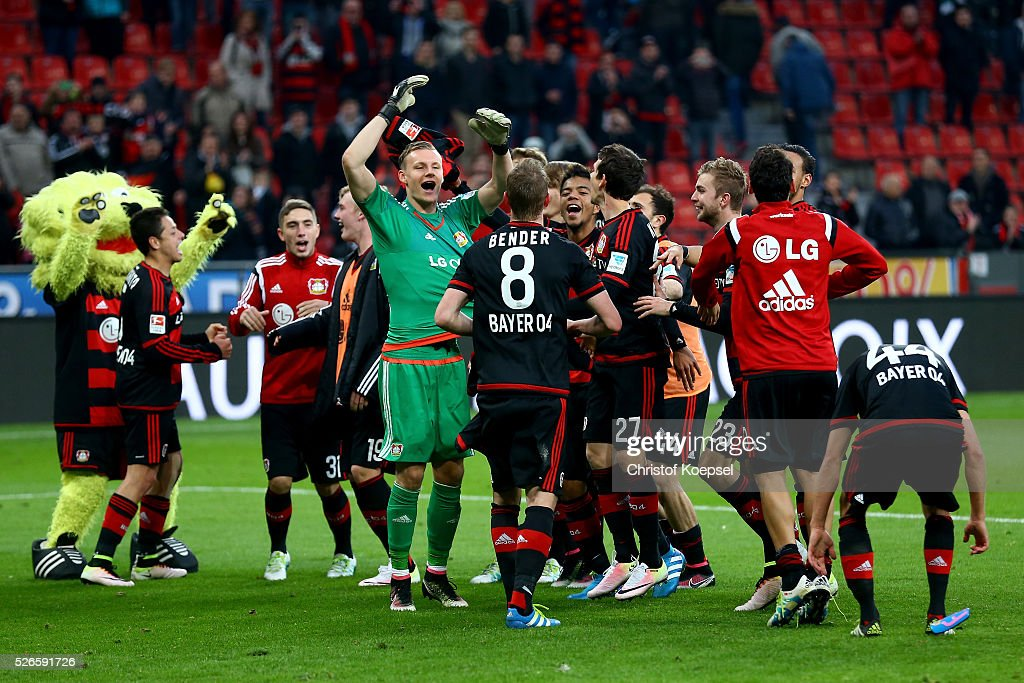 The team of Leverkusen celebrates after the Bundesliga match between Bayer Leverkusen and Hertha BSC Berlin at BayArena on April 30, 2016 in Leverkusen, Germany. The match between Leverkusen and Belrin ended 2-1.
