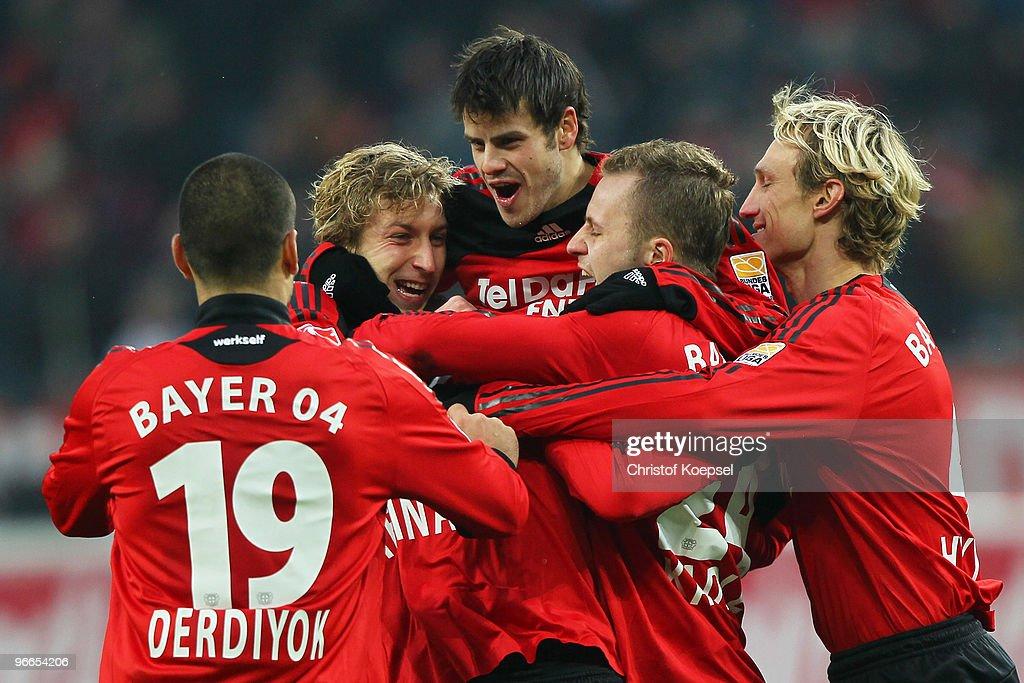 The team of Leverkusen with Eren Derdiyok Stefan Kiessling Tranquillo Barnetta Michal Kadlec and Sami Hyypiae celebrates the first goal during the...